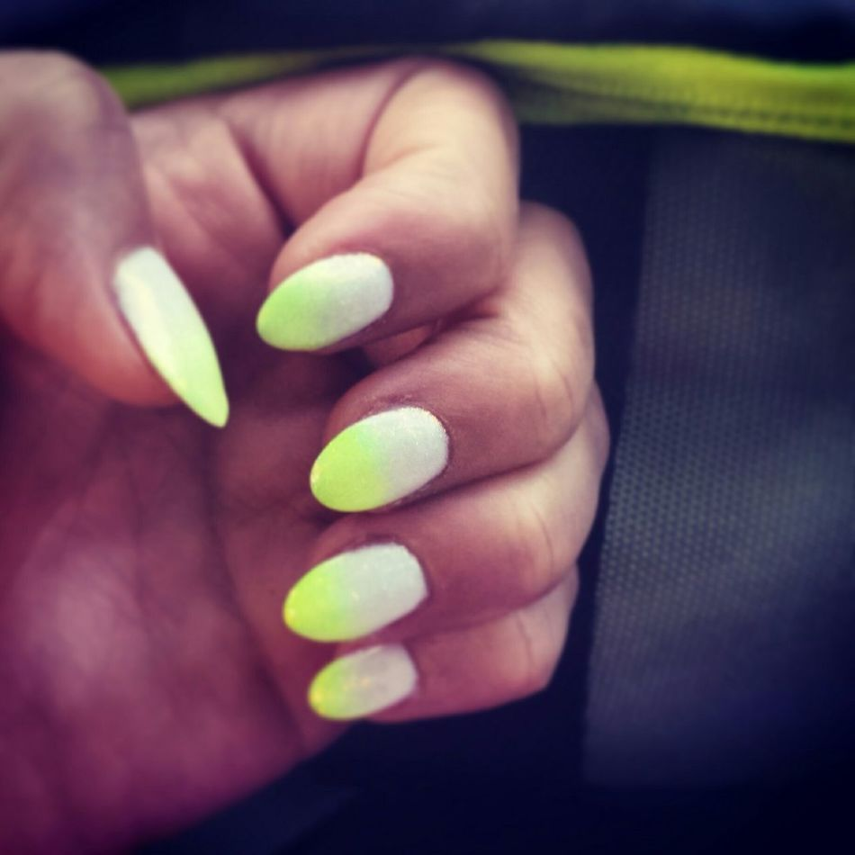 Nails Mynails Inspirations Fashion Yellow White YellowWhite Nailart  Ombre Nails Ombre