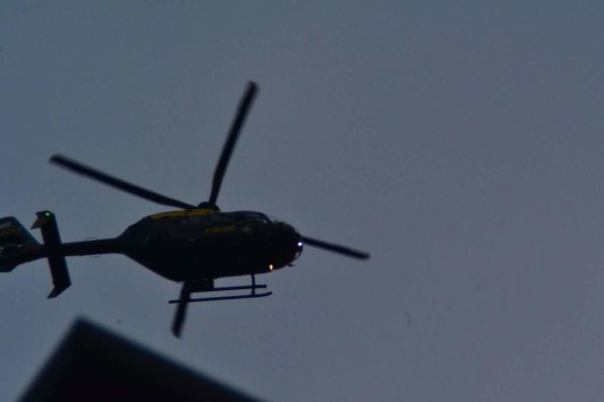 Flying Air Vehicle Outdoors Sky Police Helicopter My House caught it lovely as it hovered over our area looking for an elderly man No Filters Or Effects