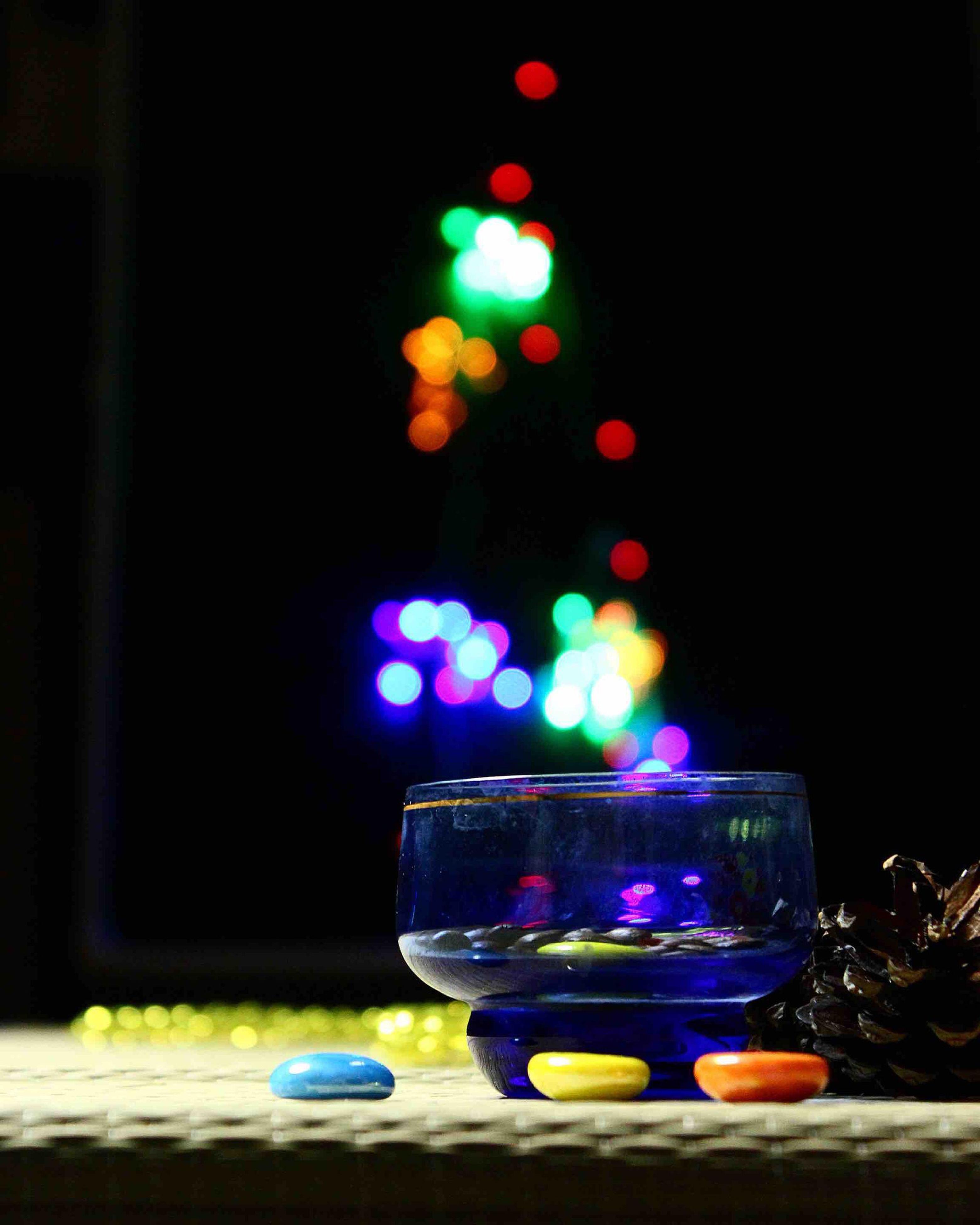 illuminated, christmas lights, lighting equipment, no people, christmas decoration, night, igniting, black background, indoors, christmas tree, christmas ornament
