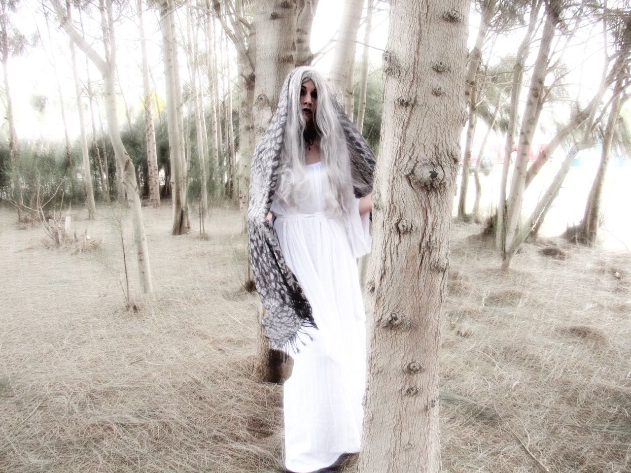 Trance Adult Day Grass Nature On The Dark Side One Person One Woman Only Outdoors Portrait Scarf Kind Of Day Sky Strange Things Happen Everyday Tree White Dress