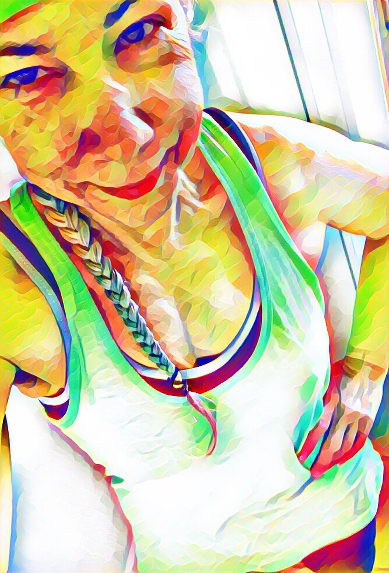 Feeling fit Multi Colored Photo Art Posterized Self Portrait
