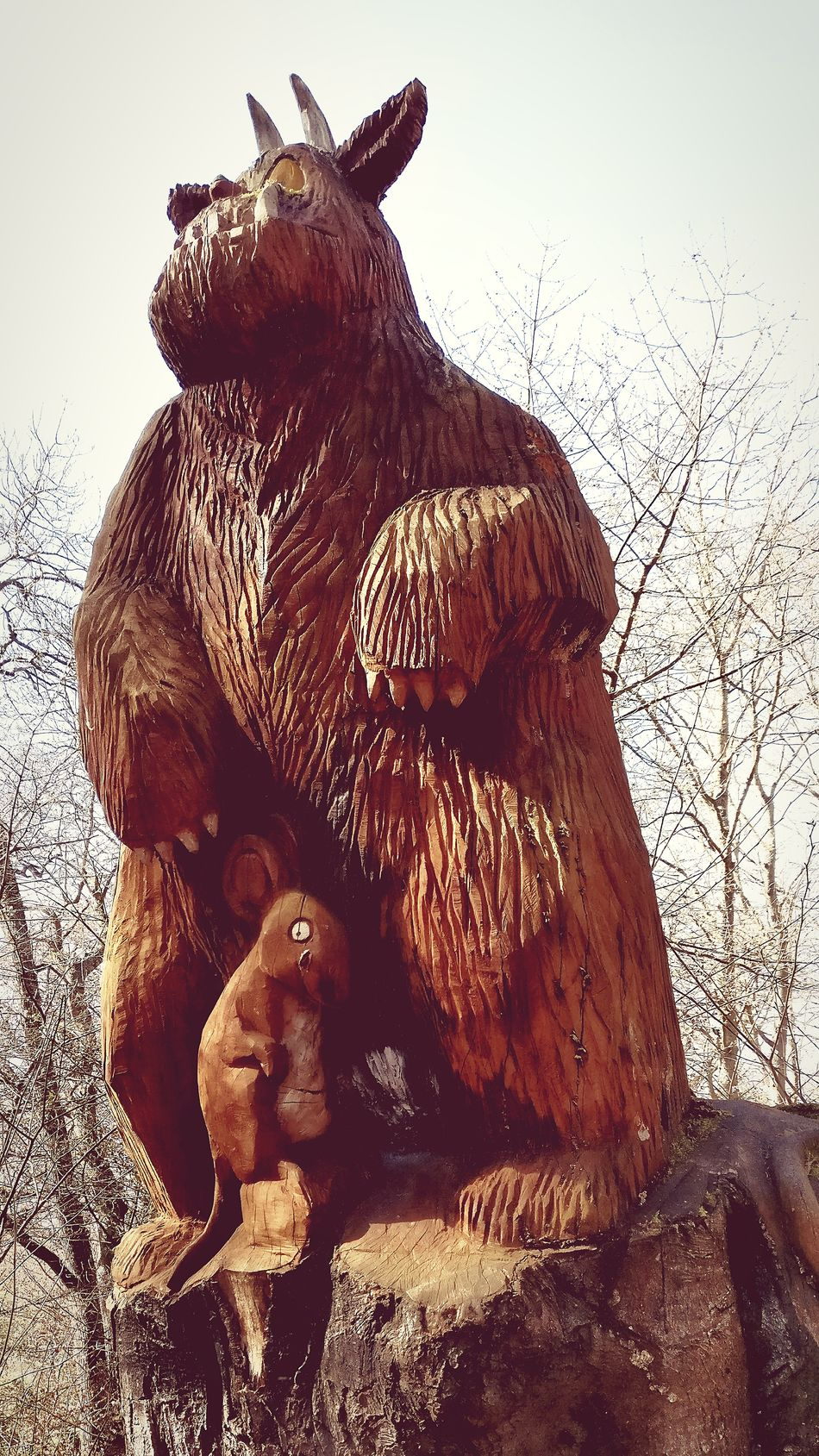 Animal Themes Statue Day No People Outdoors Scotland Scottish Highlands Culloden Wood Carving Art Wood Carving Animals In The Wild Mammal Close-up Full Frame Scotlandsbeauty Scotland 💕 Scottish Highlands Gruffalo Gruffalo Hunt