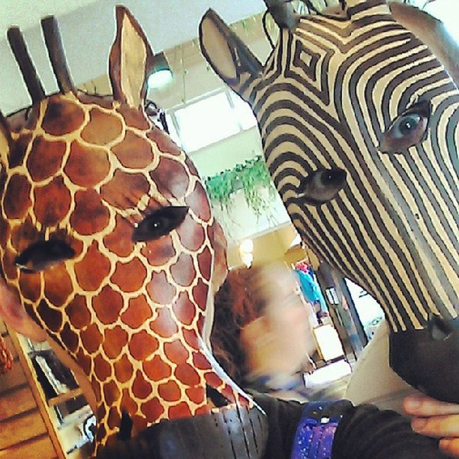 I was clearly too interested with these masks. Giraffe Zebra Theycanbefriends