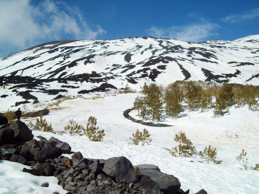 Snow Winter Cold Temperature Season  Beauty In Nature Sky Nature White Color Landscape Etna Molten Rock Mountain Sicily