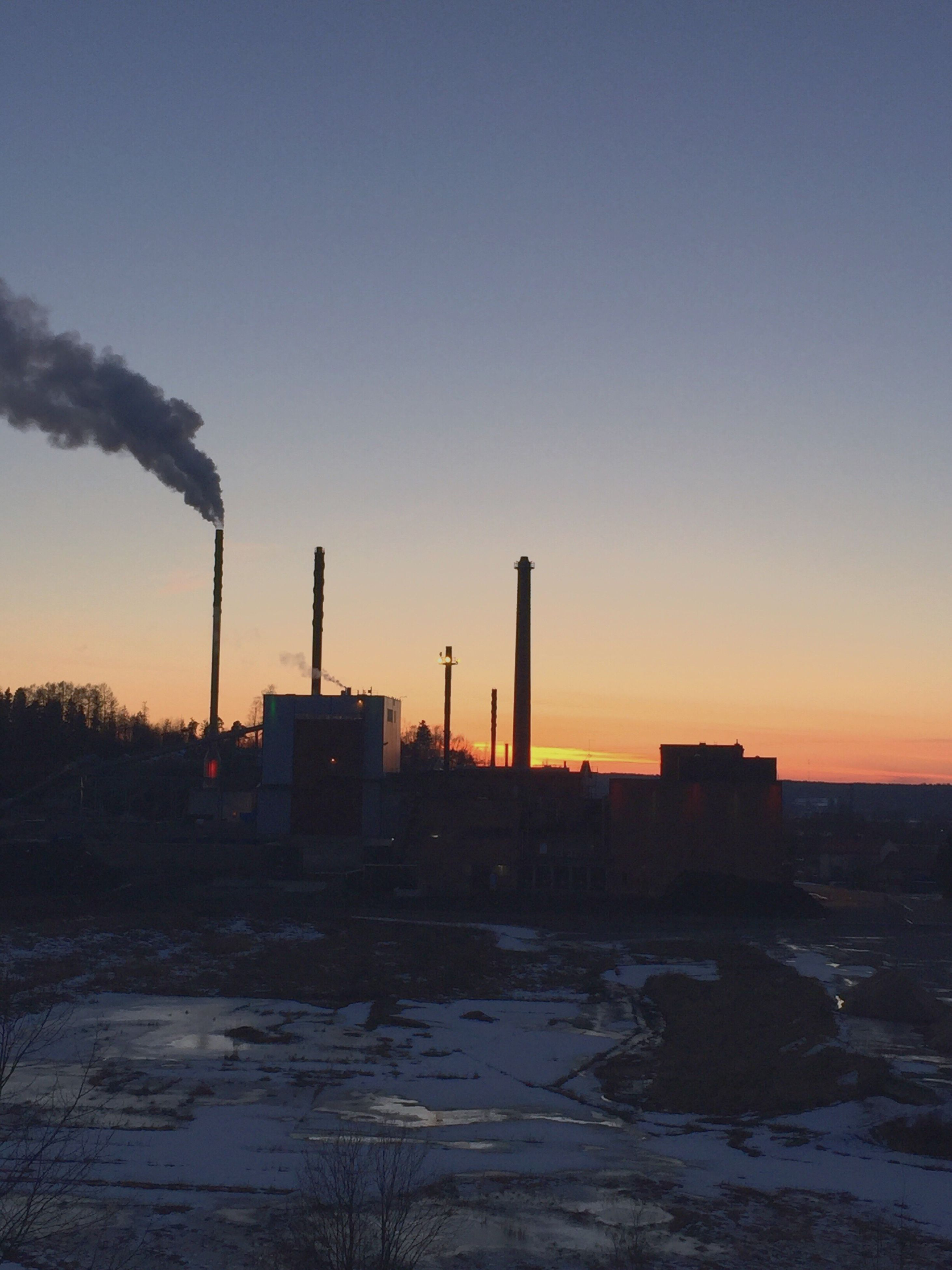 sunset, built structure, building exterior, architecture, orange color, copy space, clear sky, water, sky, industry, silhouette, nature, no people, smoke stack, outdoors, sea, dusk, beauty in nature, tranquility, scenics