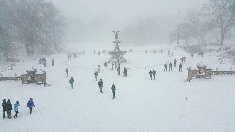 Winter Playground Bethesda Terrace Central Park New York City Snowing Snow Storm Snow Day