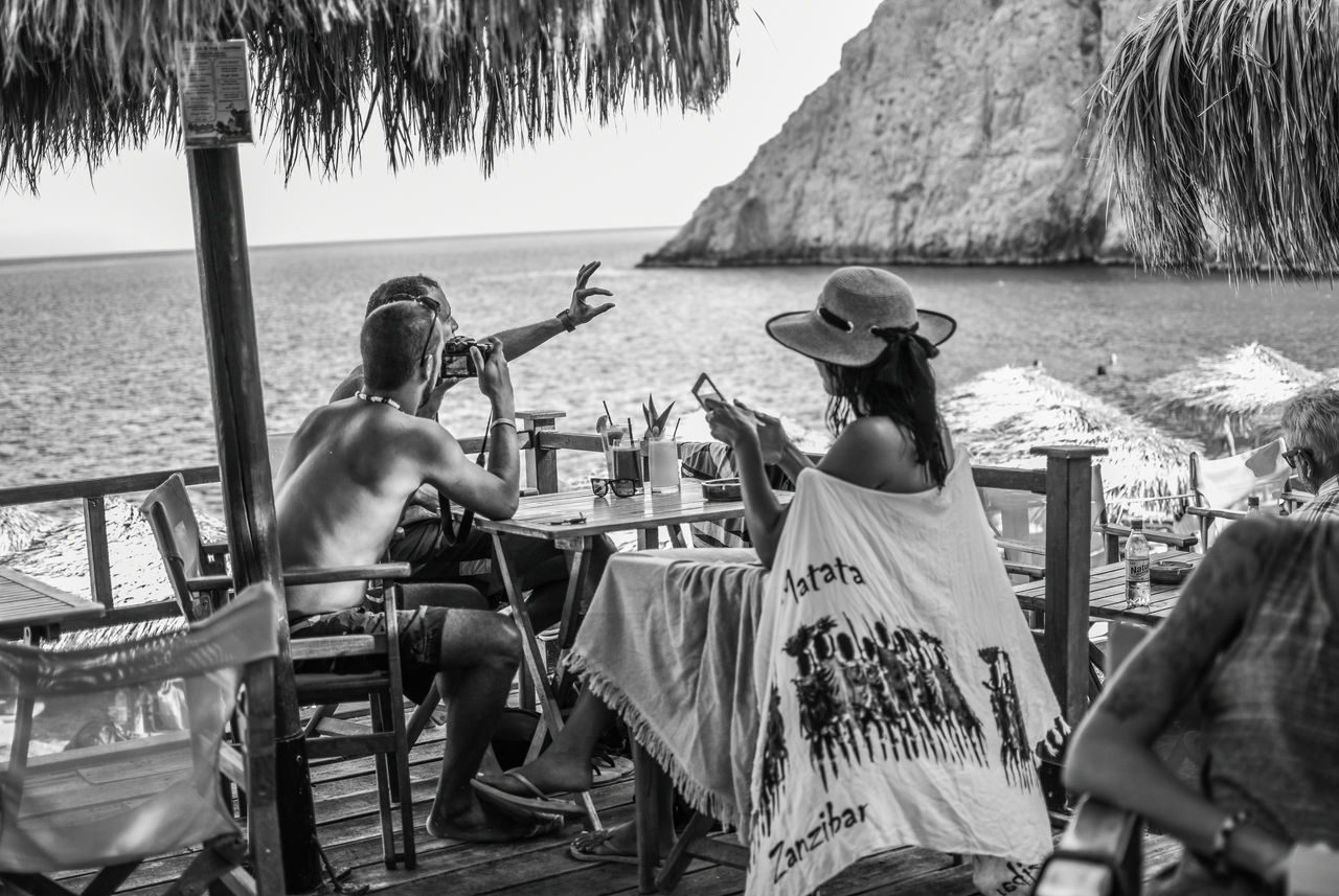 Kamari Beach Santorini Greece Taking Photos Summer Vacations Holydays Having Fun Tourists Beachlife Blackandwhite Bnw 35mm 1.8 Finding New Frontiers