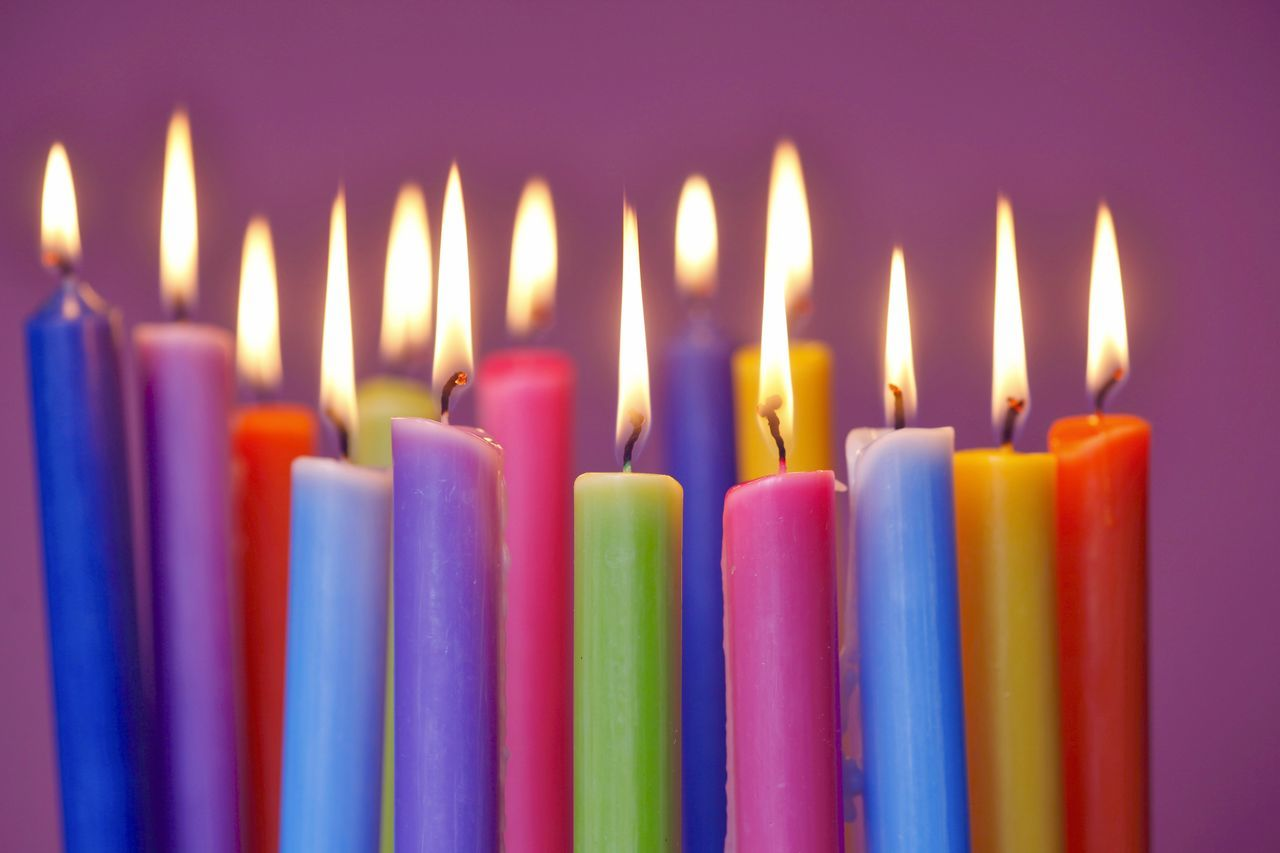 candle, flame, burning, birthday candles, close-up, celebration, birthday cake, birthday, text, heat - temperature, no people, indoors, illuminated, multi colored, day