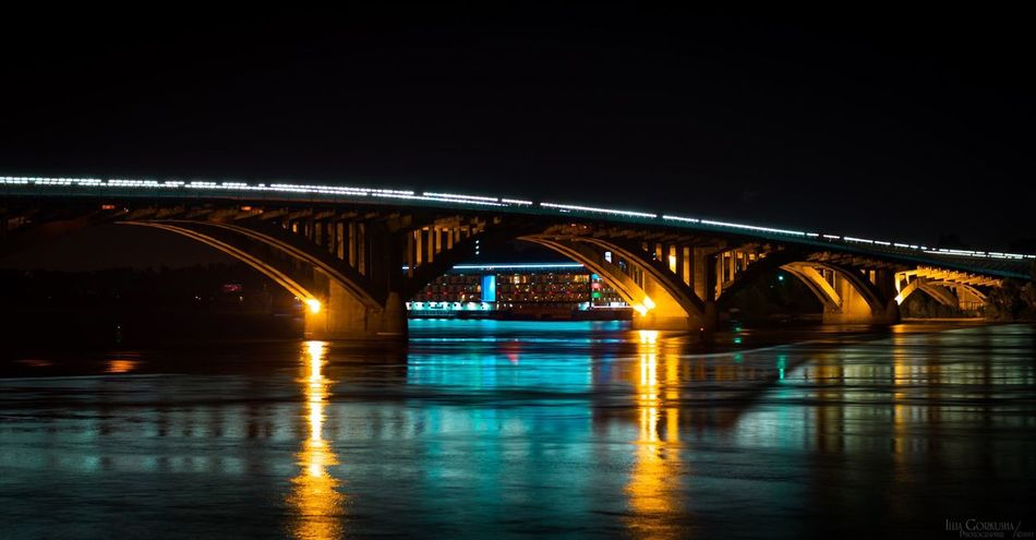 Bridge - Man Made Structure Night Transportation Illuminated Connection Built Structure Travel Destinations River Architecture Water City Multi Colored Mode Of Transport Outdoors Vacations No People Sky