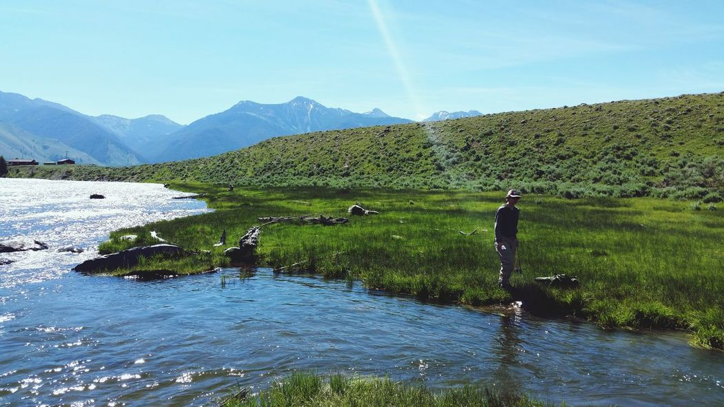 Happiness is taking your son to the Madison River MT. Mountain Sky Fly Fishing Madison River Landscape Fishing Spot Catch And Release Water Beauty In Nature Outdoors