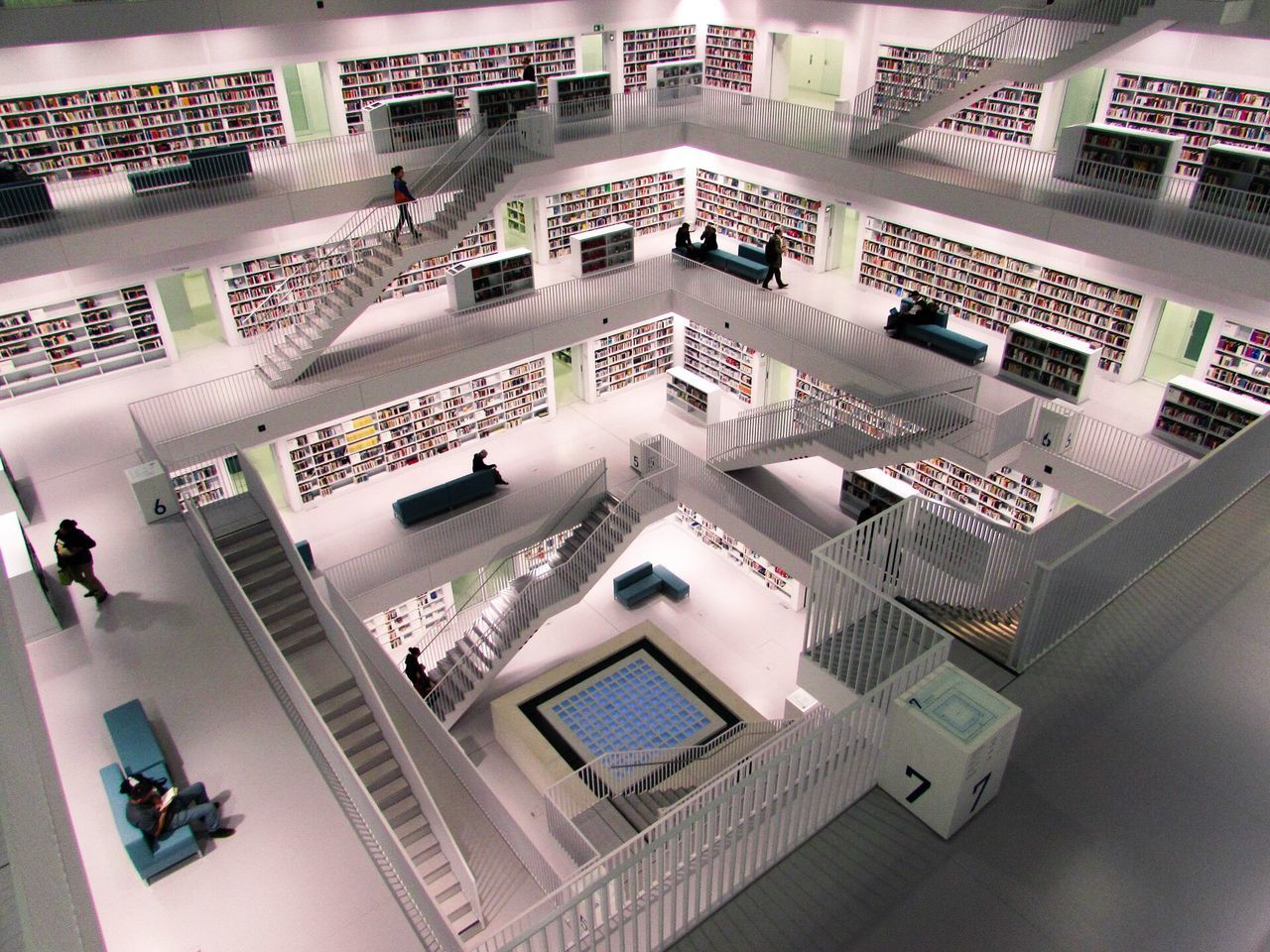 high angle view, architecture, indoors, no people, day