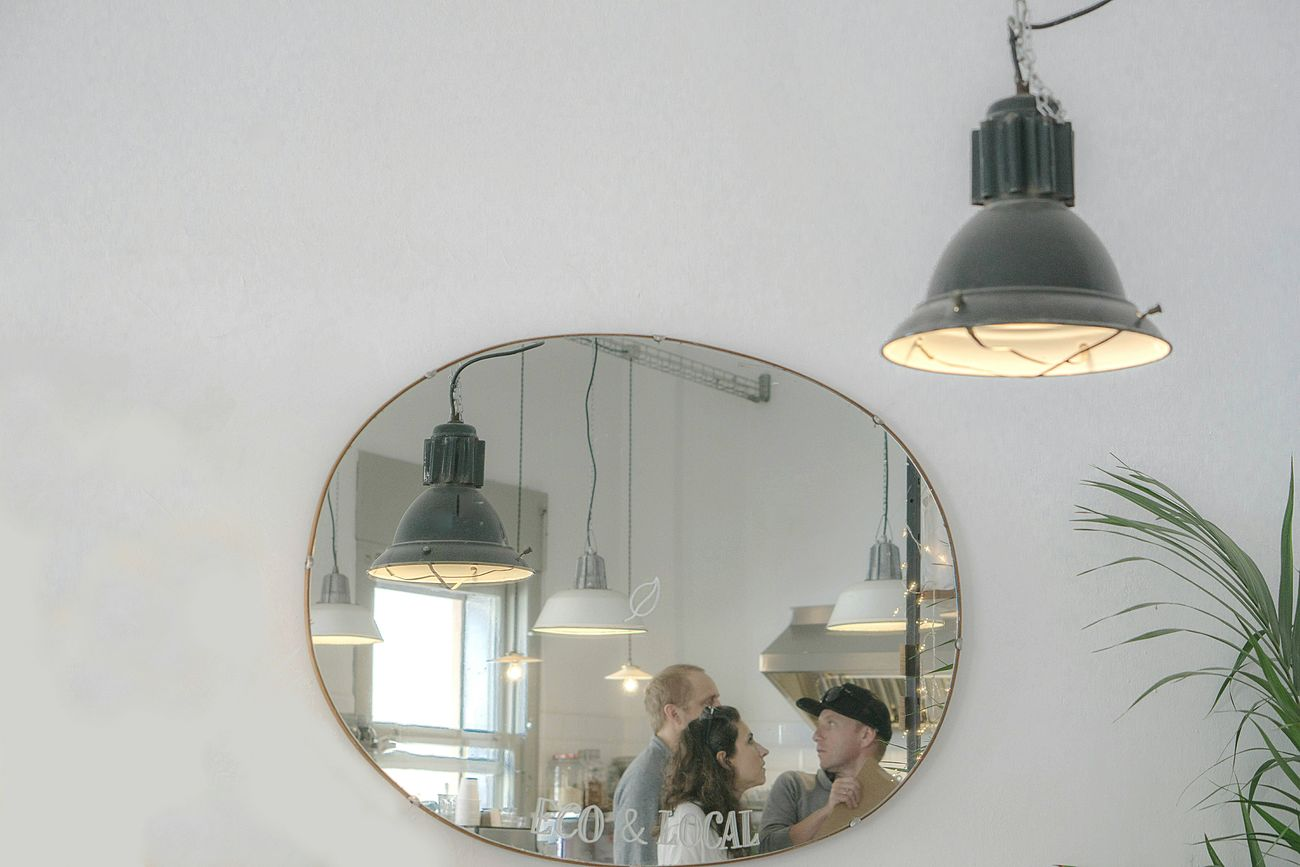 Coffee time Indoors  Mirror Mirror Reflection Reflection Real People Cafeteria White Wall Lamps Illuminated