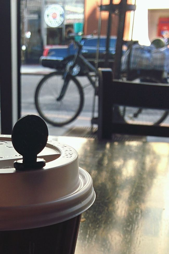 Early Morning Coffeetime Morning Coffee Rush Caffeine Cafe Lonely Thinking Urban Winter Showcase: February Window Overview City Life City Depressed Moody Weather Bike Bycicle Ready Leaving Table Chair Alone Time Morning Coffee