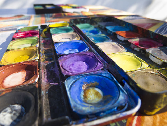 Art And Craft Box Of Paint Close-up Colours Indoors  Multi Colored Order PaintBox Painting Selective Focus Still Life Table Variation Water
