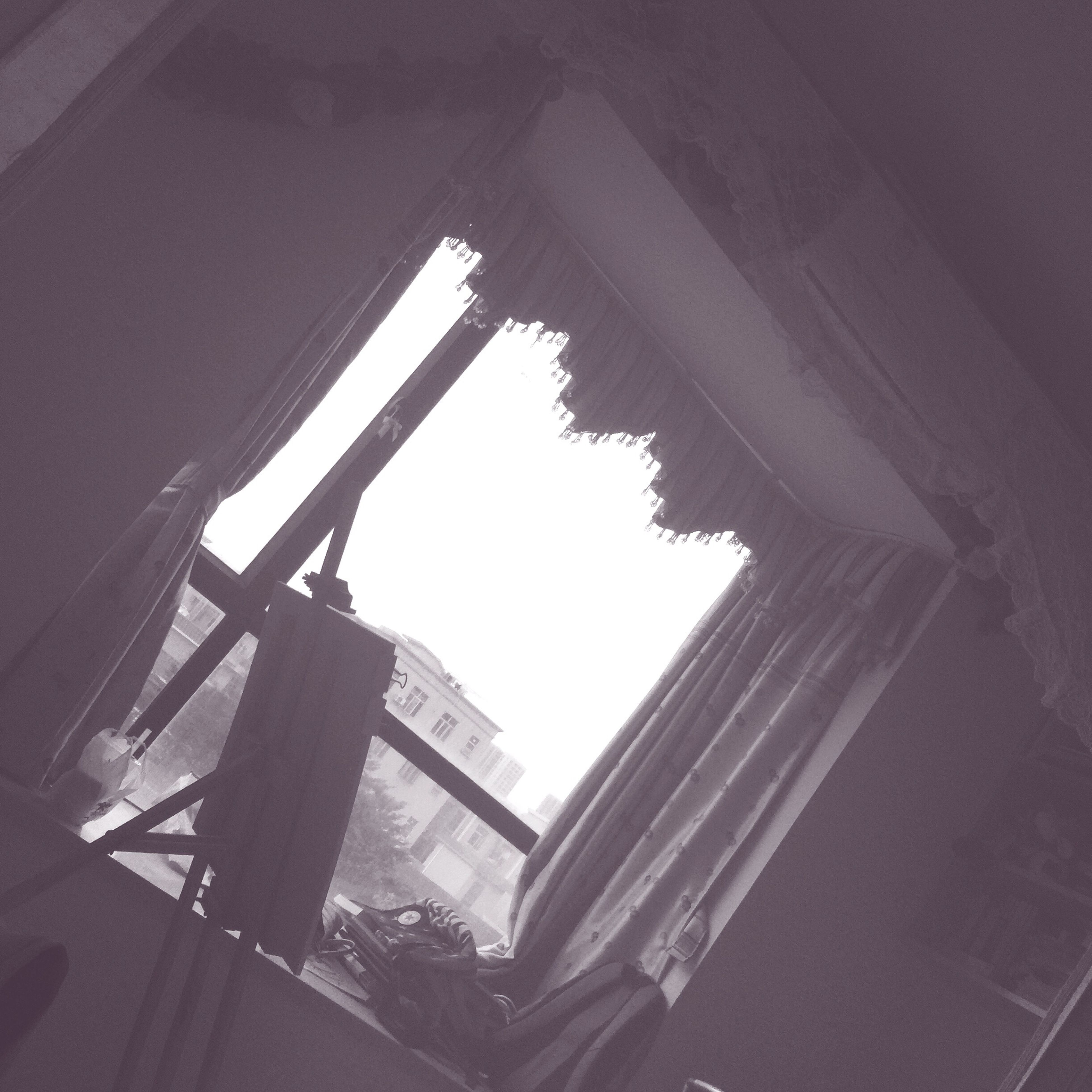 low angle view, window, built structure, indoors, sunlight, no people, architecture, day, sky, close-up