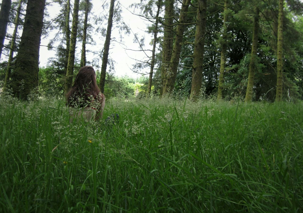 Our place Place Trees Woods Clearing My Mind Clearing In The Woods Girl Grass Green Thinking Thoughtful Girl Sky Flowers Nature Photography Together Back Turned Hidden Gems  Hidden Places Hidden Beauty Beauty In Nature My Favorite Place Young Adult Headshot Person Women Around The World