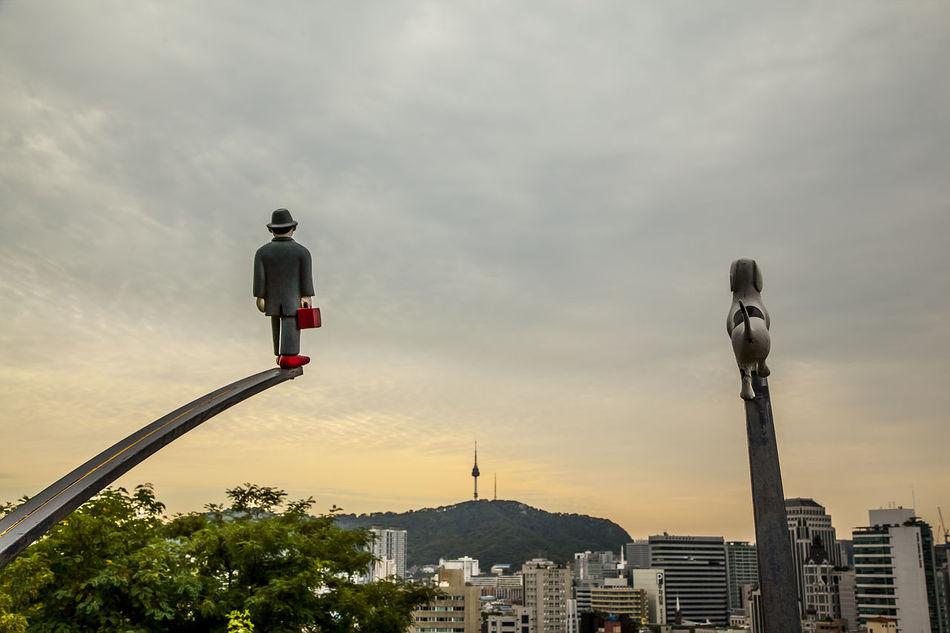 Naksan Park Cloudy Seoul Tower Namsan Haewhadong Seoul Korea