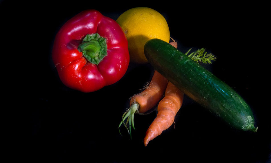 Bell Pepper Black Background Close-up Day Food Food And Drink Freshness Green Bell Pepper Green Chili Pepper Green Color Healthy Eating Indoors  No People Pepper - Vegetable Raw Food Red Red Bell Pepper Studio Shot Variation Vegetable Yellow Bell Pepper