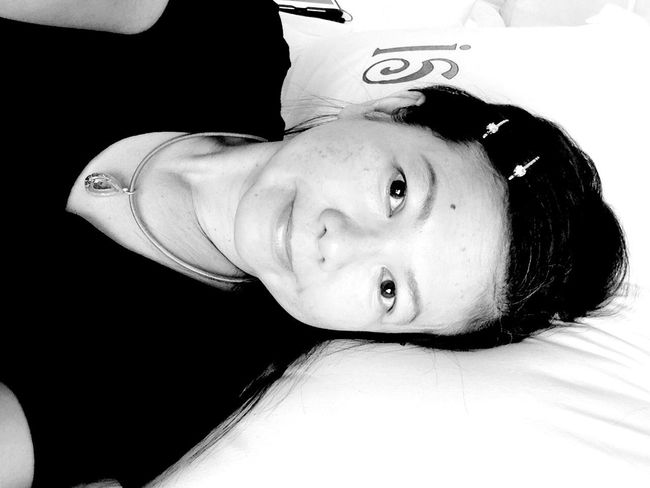 Blackandwhite B&W Portrait Hello World That's Me Smile Self Portrait Selfie ✌ Faces Of EyeEm Relaxing Laying In Bed