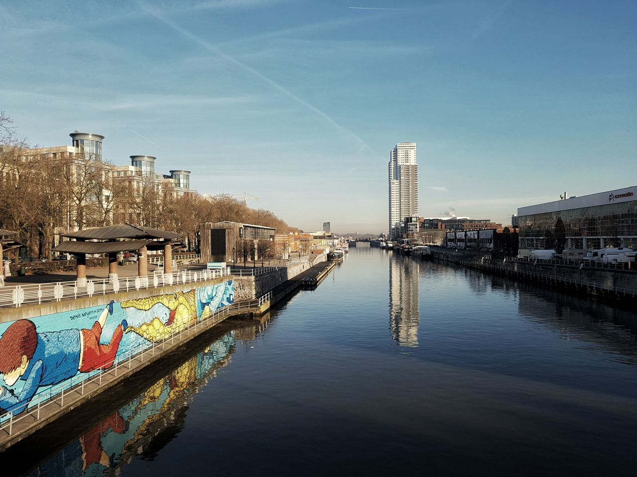 Canal Molenbeek Reflection Water Skyscraper Travel Sky Travel Destinations City Architecture Business Finance And Industry Outdoors Tranquility Building Exterior Cityscape Urban Skyline No People Day Cloud - Sky Bridge - Man Made Structure Sea Nature