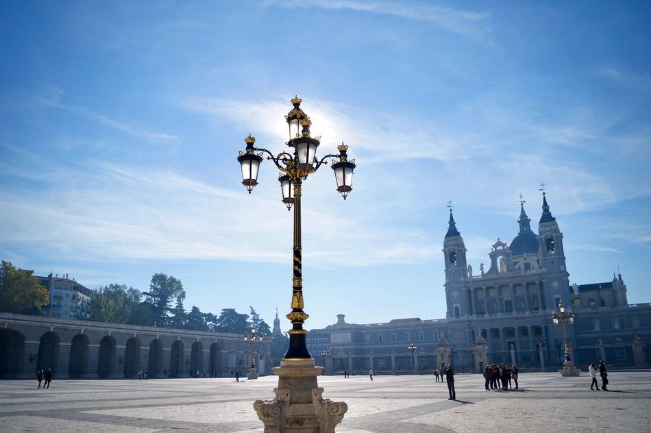 Adult Adults Only Architecture Architecture Backlight Blue Sky Building Exterior City City Gate Cityscape Day Full Length Lanterns Large Group Of People Outdoors Palace Palacio Real Palacio Real De Madrid Palacio Real, Madrid, Spain People Royal Sculpture Sky Statue Travel Destinations