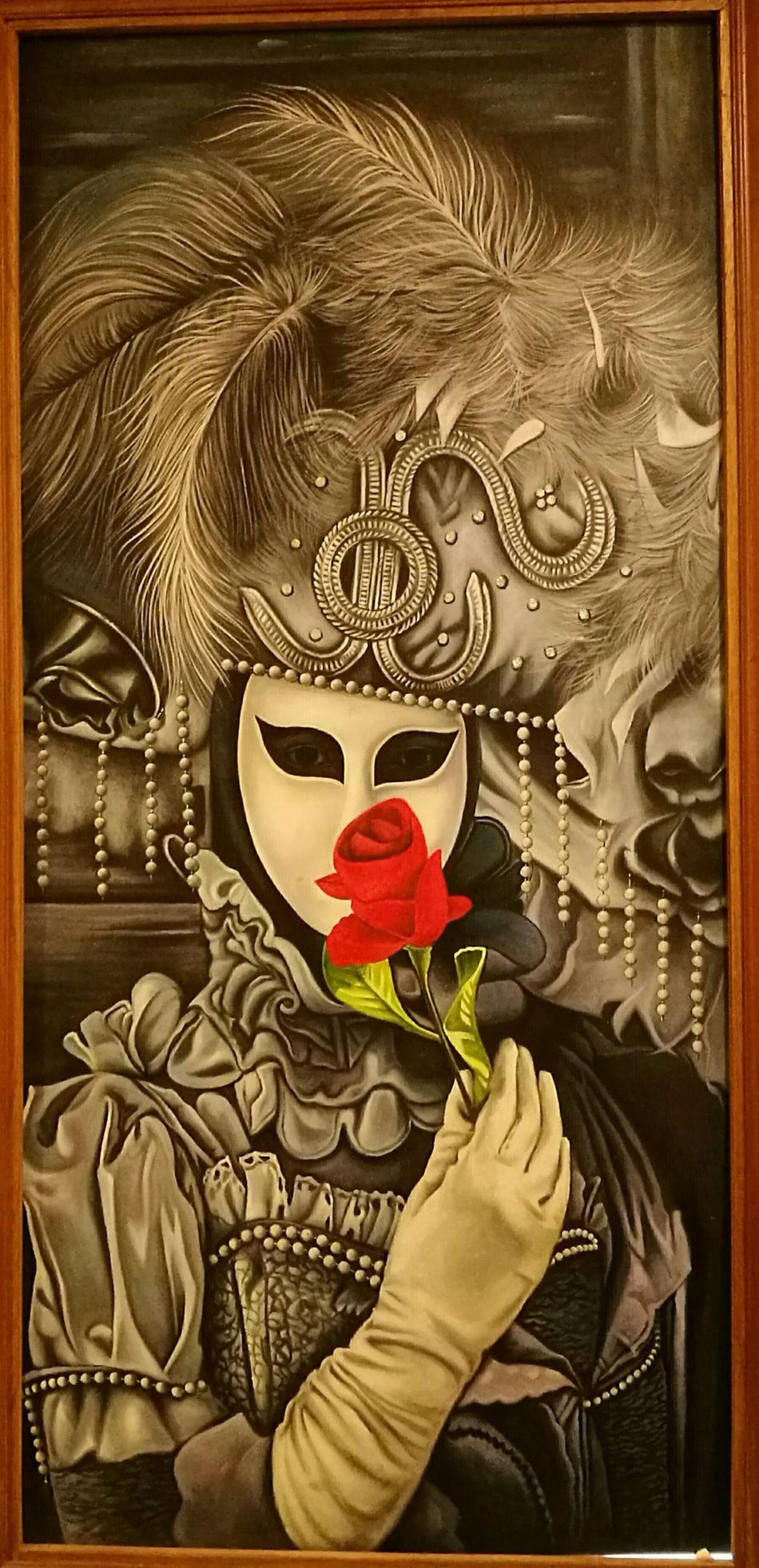 Close-up Artisian Opera House Black & White Classic Masks Rose♥ Venice Phantom Fantasy