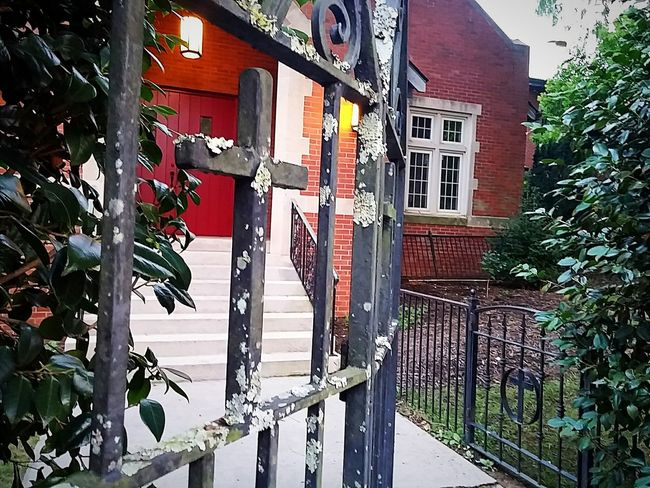 Architecture Building Exterior Asheville Asheville, NC Asheville Nc Railing Iron Fence Gate Fence Wrought Iron Gate Wrought Iron Gates Wrought Iron Railing Wrought Iron Wrought Door Doorway Door Cross Ornate Church