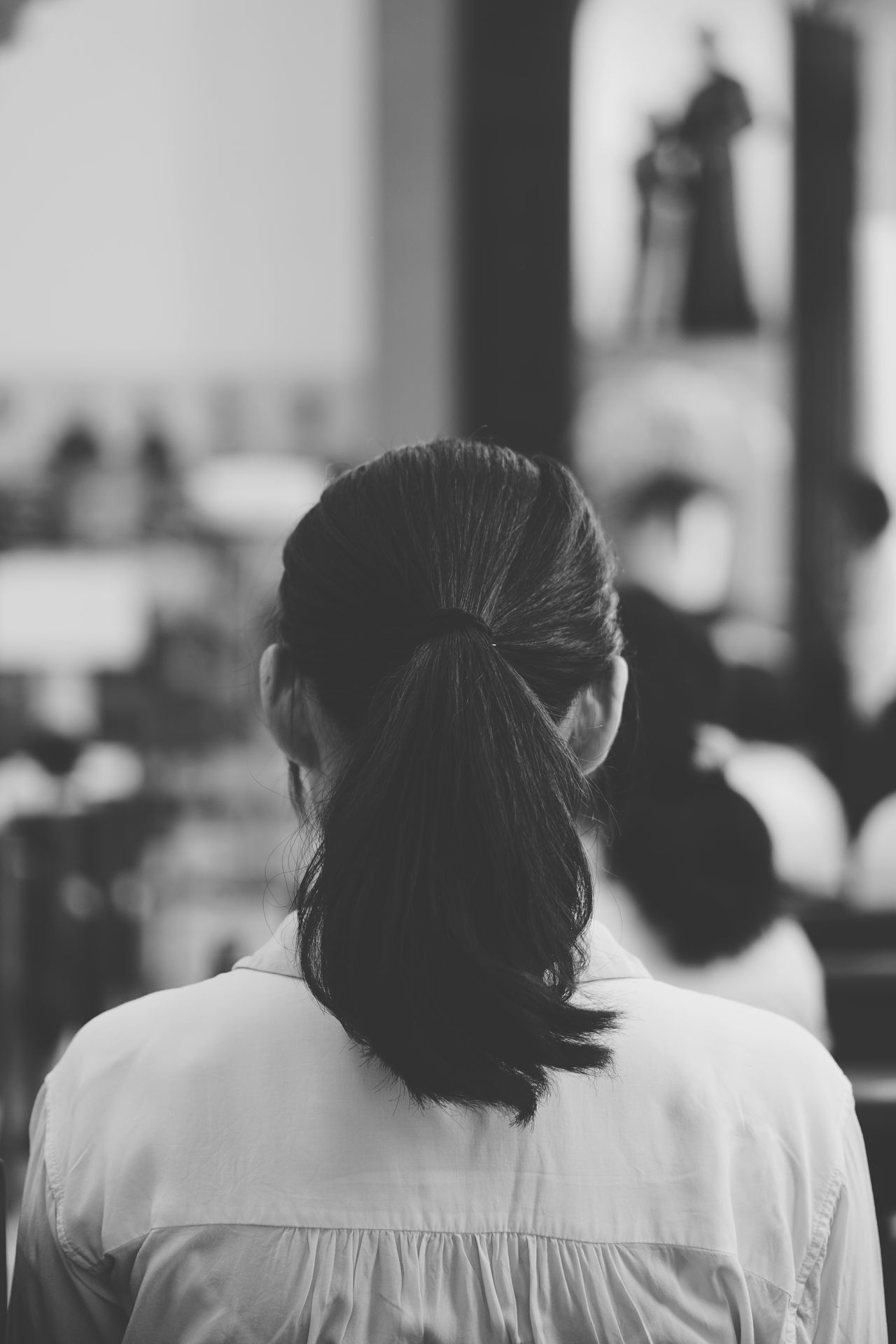 Faith Rear View Adults Only One Person Black Hair Focus On Foreground Real People Indoors  Day Headshot People Life In Motion See What I See Eyeem 2017 Taking Photos Black & White Blackandwhite Photography Find My Own Way Life Is Beautiful Portrait Lifestyles