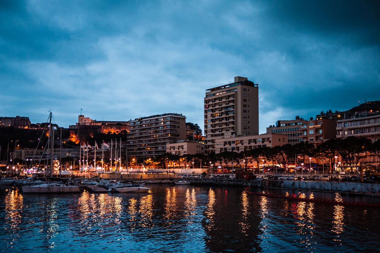 City At Night City Lights Sea Lights Monaco Montecarlo Monaco Montecarlo Blue Blue Sky Marina Harbour Reflection Boats Sailboat