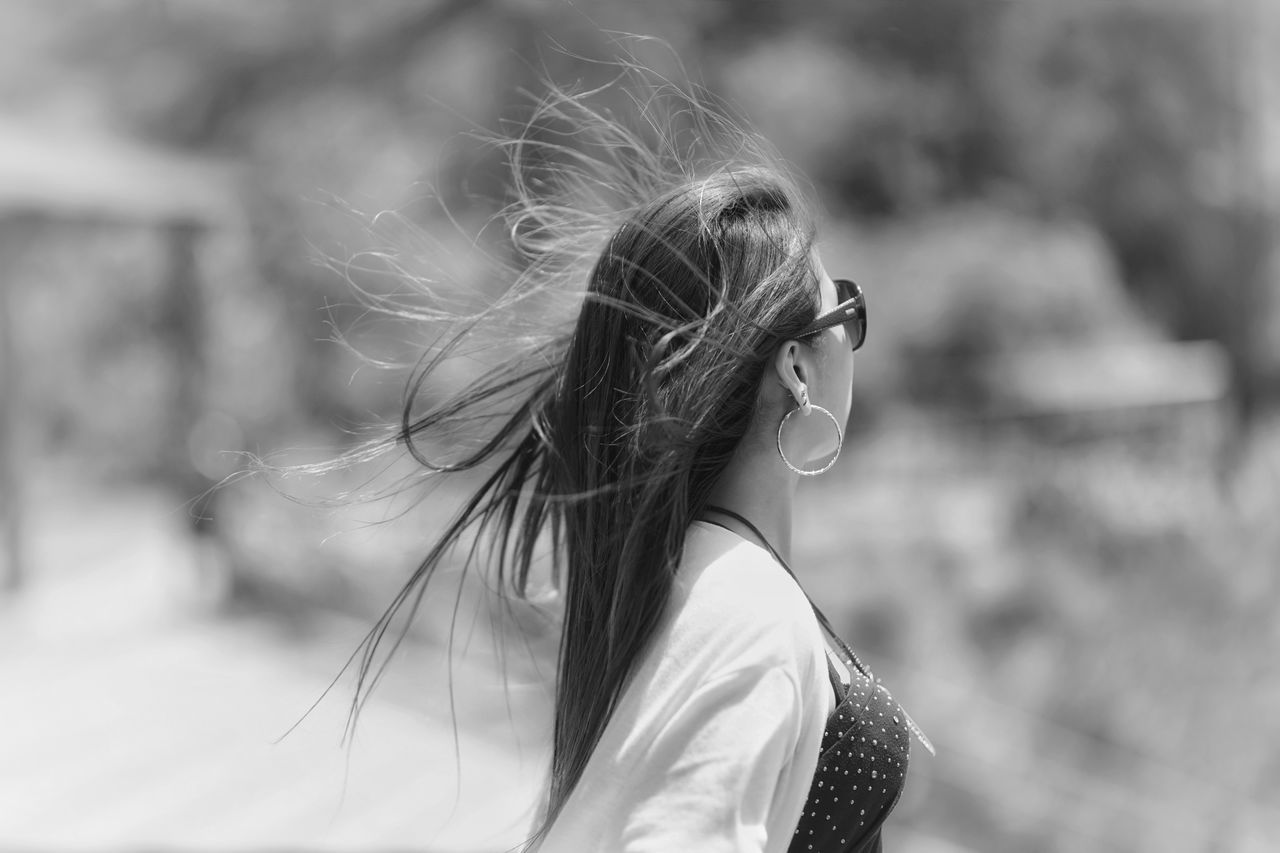 Capture The Moment Wind Fly Away Long Hair Focus On Foreground Headshot One Woman Only Side View Light And Shadow Black And White Monochrome People Girls Snapshots Of Life Street Photography Getting Inspired Outdoors Selective Focus Depth Of Field Fine Art Full Frame Detail Sigma EyeEm Best Shots 17_05 Live For The Story The Street Photographer - 2017 EyeEm Awards The Portraitist - 2017 EyeEm Awards EyeEmNewHere EyeEm Selects