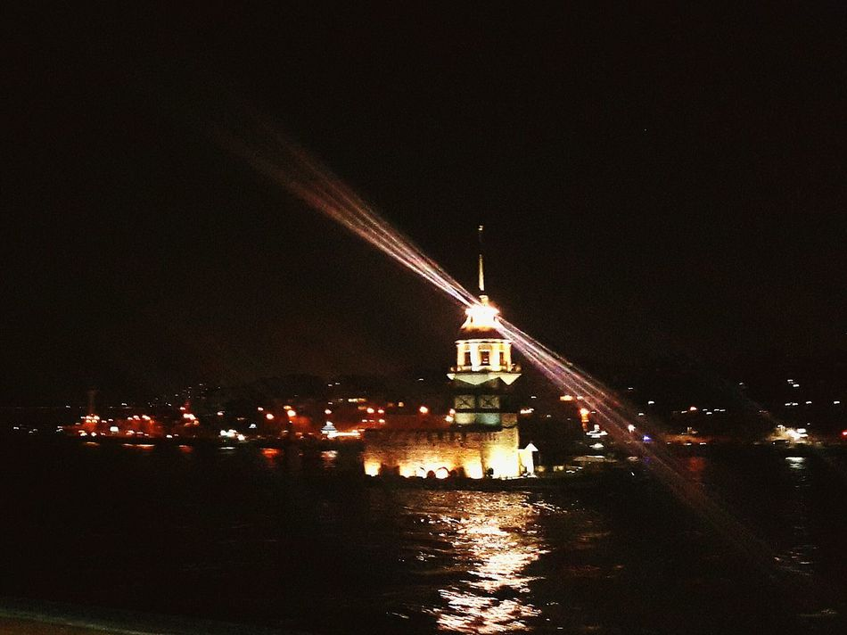 The Maiden's Tower Reflection Sea View Night Lights Darkness And Light City Lights Nightphotography Water Reflections Ferry Views Kız Kulesi