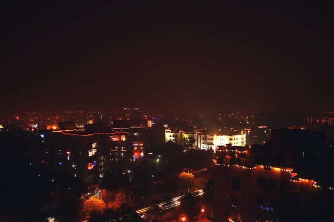 The Culture Of The Holidays Illuminated City Night Architecture Built Structure Cityscape Building Exterior High Angle View Crowded Sky Outdoors City Life Aerial View No People Residential District Capital Cities  Diwali 2015 Diwali Overnightsucess