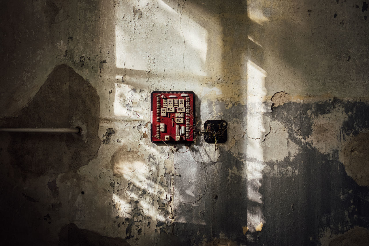 Out of order. Cables Concrete Damaged Dirty Electricity  Messy Old Power Switch Wall Weathered Wires