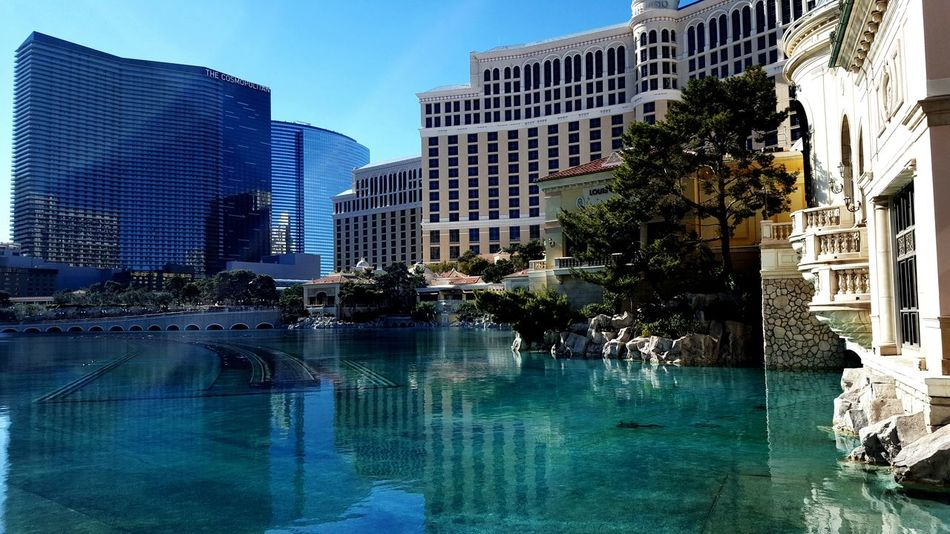 Las Vegas January 2017 City Reflection Skyscraper Architecture Water Building Exterior Urban Skyline Modern Tree Outdoors Cityscape Sky No People Apartment Clear Sky Built Structure Day