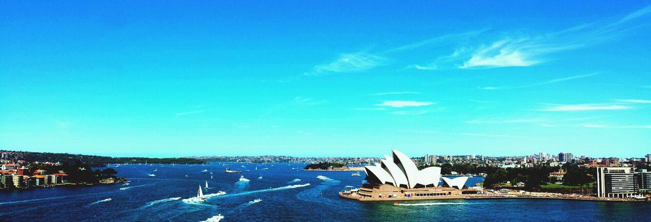 Sydney Opera House Architecture Travel Destinations Cityscape Building Exterior Built Structure Bridge - Man Made Structure Nautical Vessel Cloud - Sky No People Modern Australia Water Blue Clear Sky