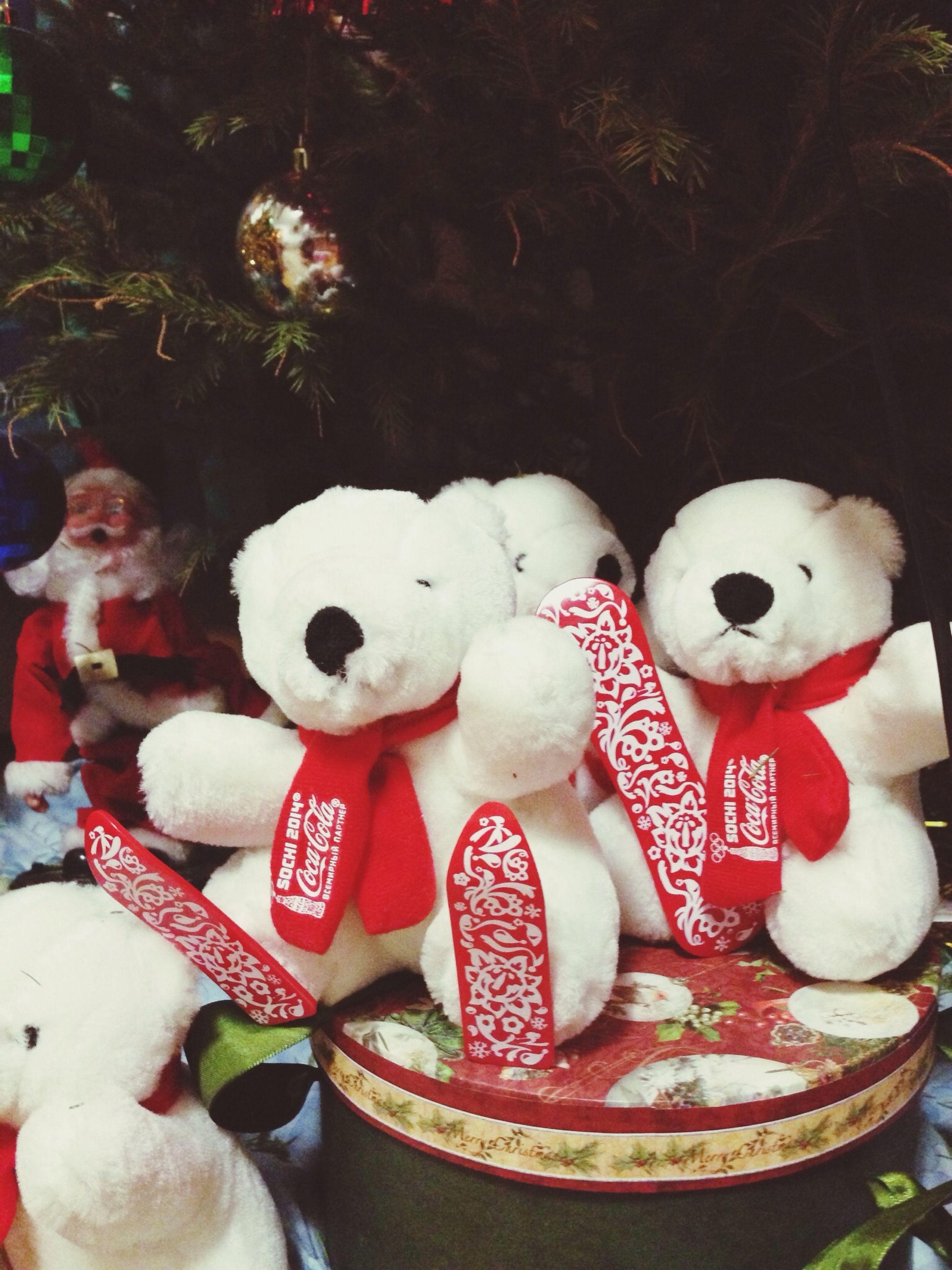 animal representation, toy, stuffed toy, human representation, creativity, art, art and craft, indoors, teddy bear, variation, white color, christmas, still life, figurine, celebration, decoration, close-up, multi colored