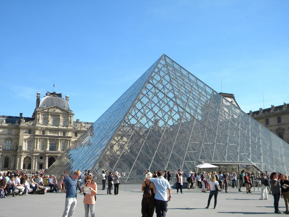 Beautiful stock photos of notre dame, large group of people, architecture, clear sky, built structure