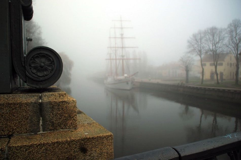 Day Europe Fog Foggy Foggy Day Foggy Morning Mist Mode Of Transport No People Old Old Ship Reflection River Sailer Ship Sky Standing Water Transportation Water Weather White Ship
