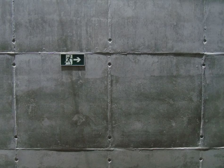 Cold Concrete Exit Exit Sign Inhotim Textured  Wall
