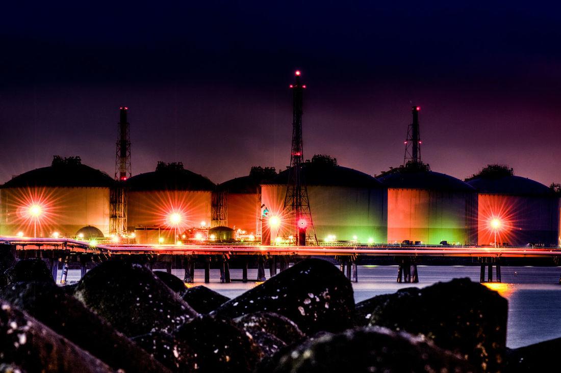 tank harbor Factory Harbor Nightphotography Nighty Reflection Sea Tank Water