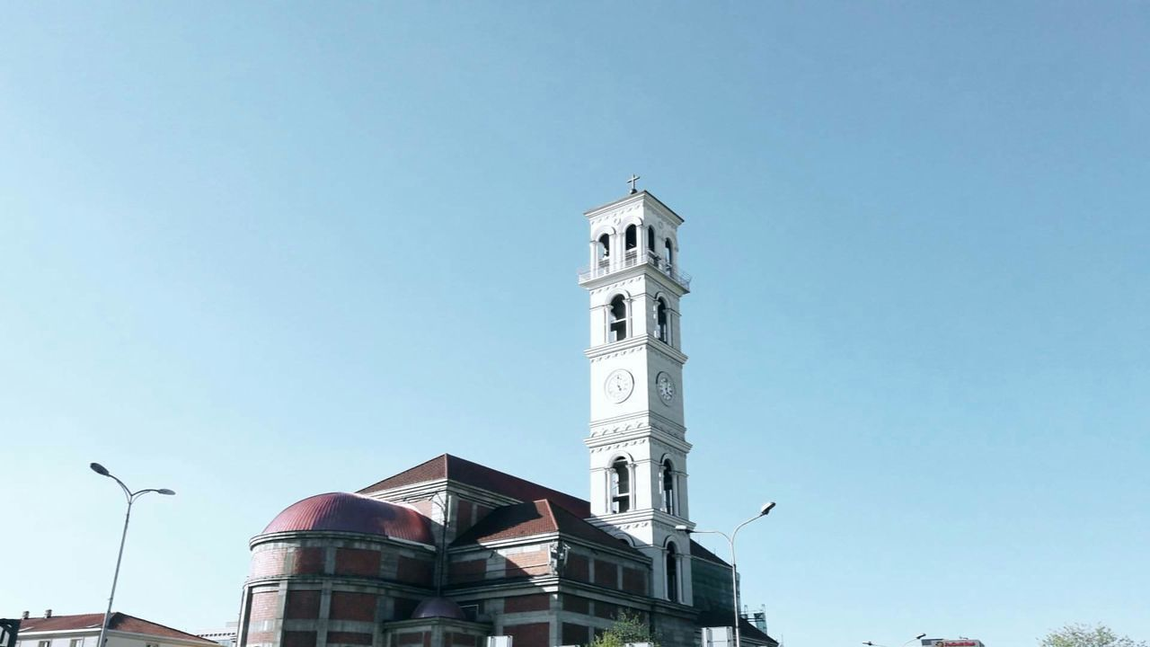 Tower Clear Sky Architecture Low Angle View Travel Destinations No People Clock Outdoors Place Of Worship Bell Tower - Tower Sky Cathedrals  Cathedrals  Cathedrals  Cathedral Urban Skyline VSCO Outdoor Photography PRISHTINA Vscokosova Skyscraper Architecture Arts Culture And Entertainment Day Clock Tower
