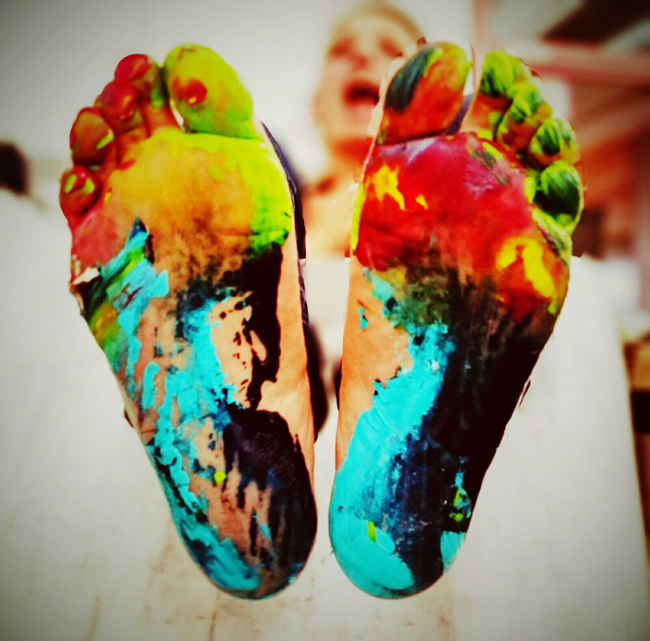 Painting with feet Multi Colored Close-up Indoors  No People Day Vscocam EyeEm Best Shots Capture The Moment Colour Of Life Color Photography Foot Feet NEM Submissions