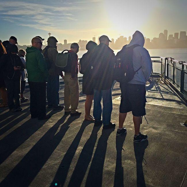 Bainbridge Island Ferry Commuters Commuters In Seattle Ferry Ferry Passengers Lifestyles Seattle Seattle Skyline Seattle, Washington Sunrise Washington Ferry My Commute Travel Photography Travel Travel Destinations Feel The Journey Fine Art Photography