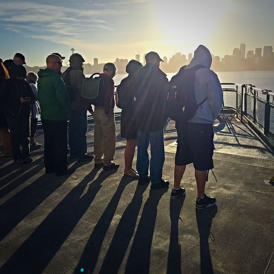 Bainbridge Island Ferry Commuters Commuters In Seattle Ferry Ferry Passengers Lifestyles Seattle Seattle Skyline Seattle, Washington Sunrise Washington Ferry My Commute Travel Photography Travel Travel Destinations Feel The Journey Fine Art Photography
