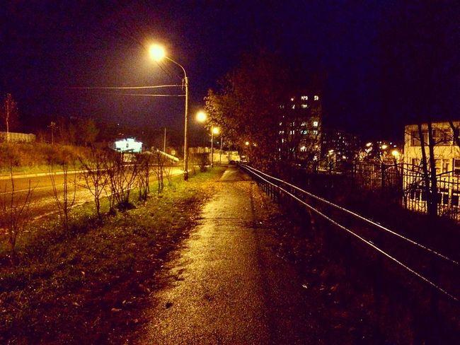 Night Illuminated Transportation Railroad Track The Way Forward Rail Transportation No People Outdoors Sky