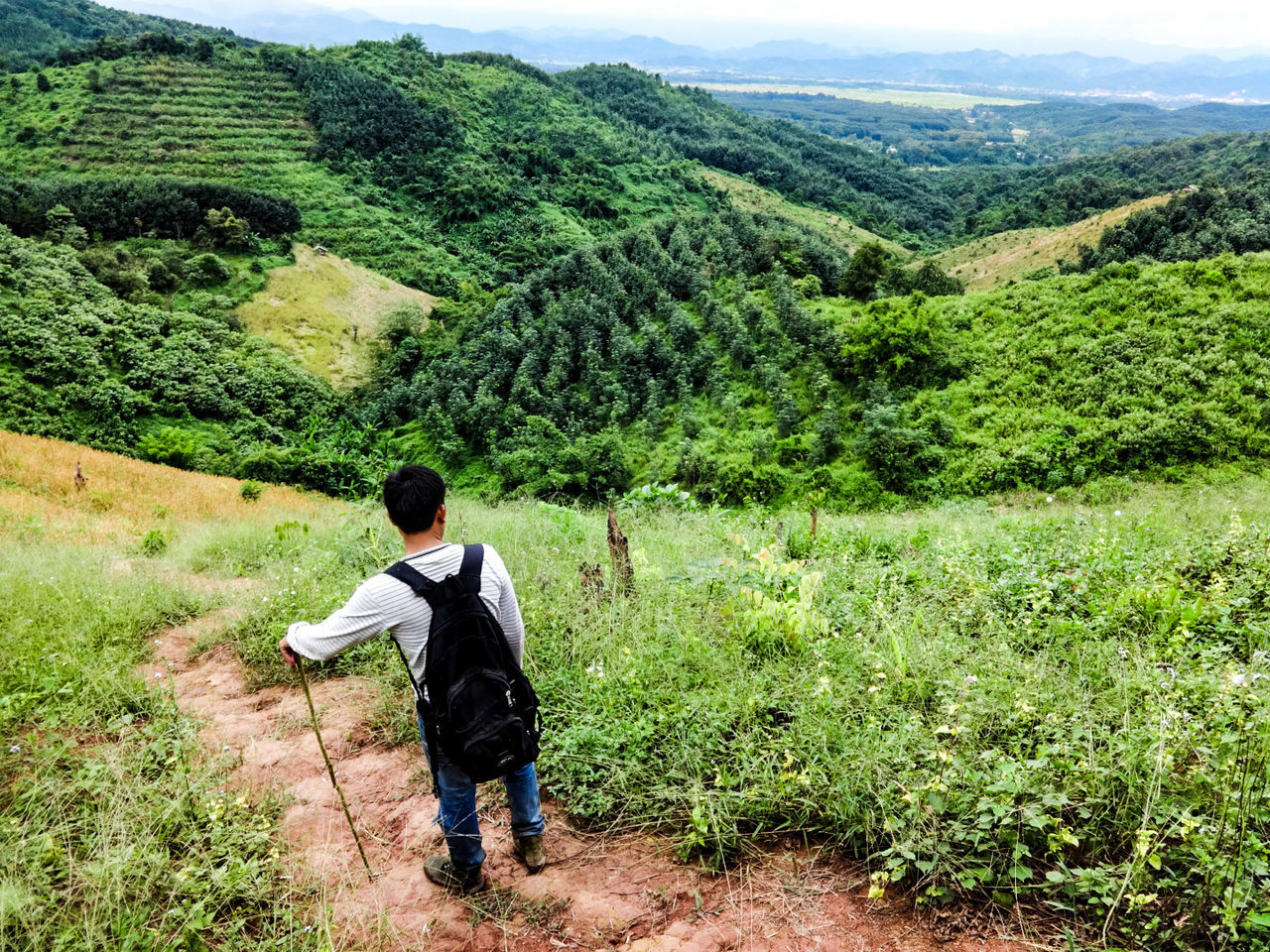 Traveler Hiker Hiking Mountaineer Travel One Person Full Length Real People Standing Green Color Nature Outdoors Sports Lush Mountains Rolling Hills