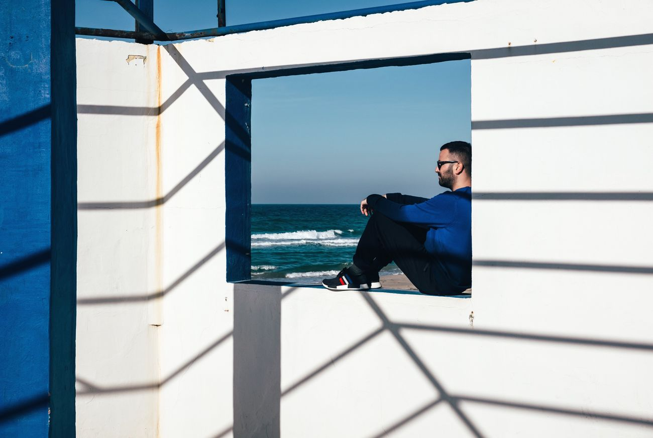 Composition Natural Light Shadows & Lights FujiX100T One Person Real People Sea Lifestyles Built Structure Young Men Outdoors VSCO Cam Freedom Beach Architecture One Man Only Minimalism Atmosphere The Portraitist - 2017 EyeEm Awards