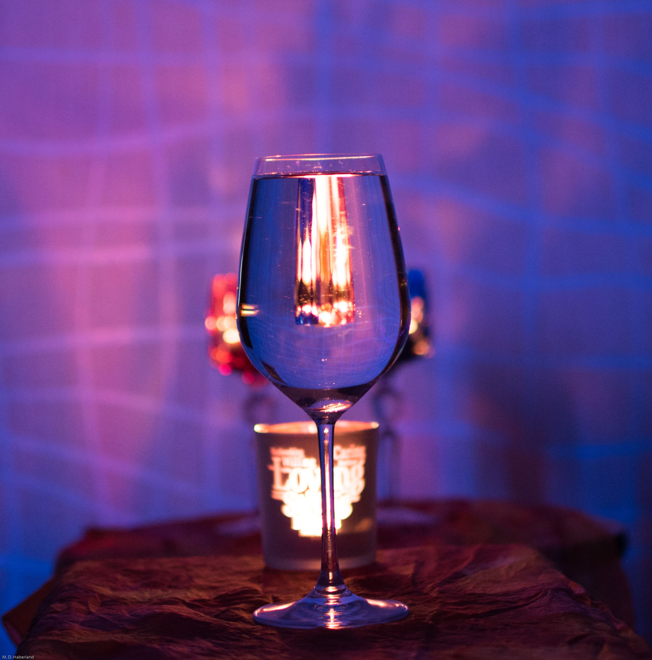 EyeEmNewHere Candle Light Blacklight Waterglass Mirrored Candle Indoors  No People Illuminated
