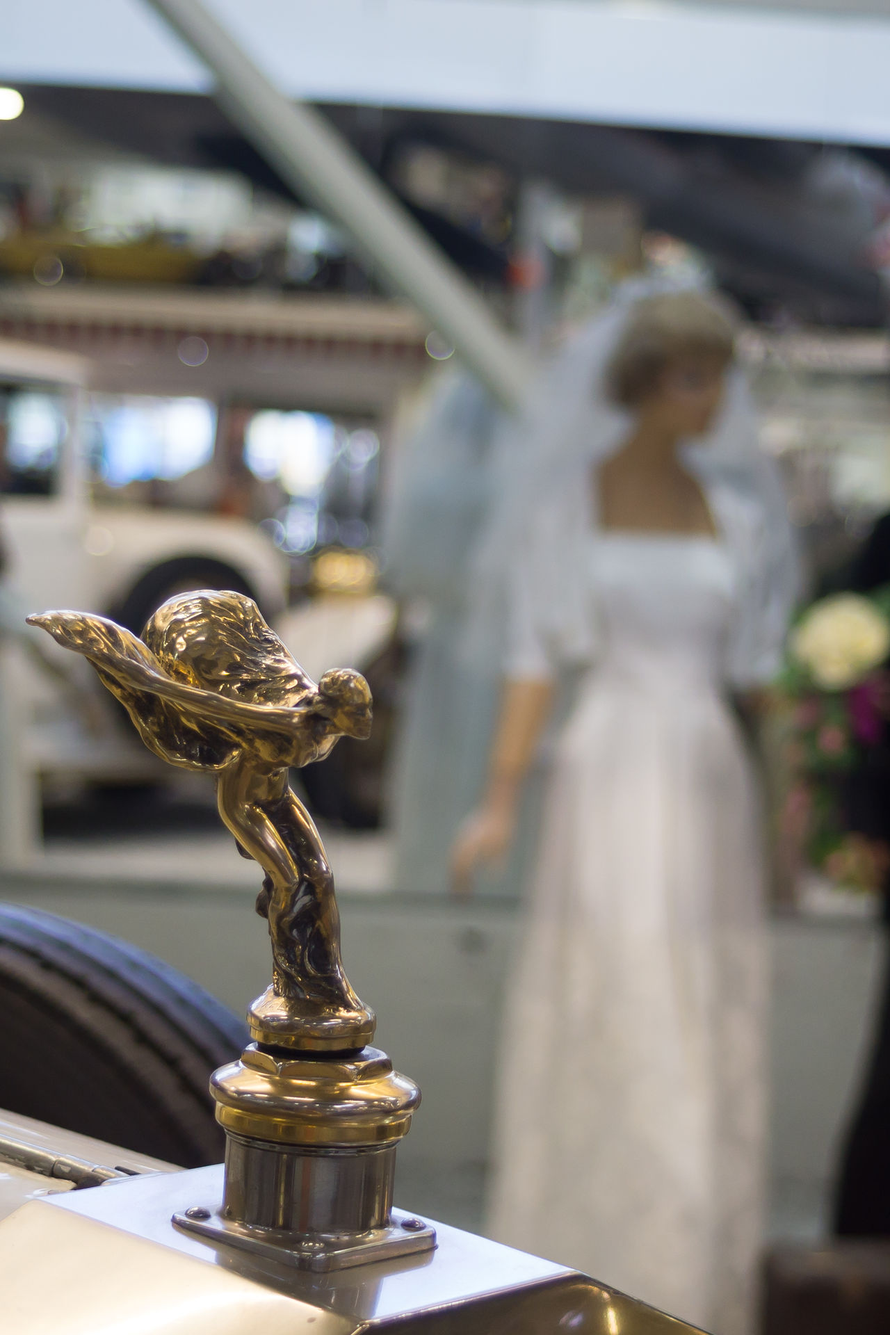 Auto und Technikmuseum Classic Car Close Up Technology Emily Focus On Foreground Gold Colored Hood Ornament No People Rolls Royce Spirit Of Ecstasy Statue Vintage Cars Rainersinsheim