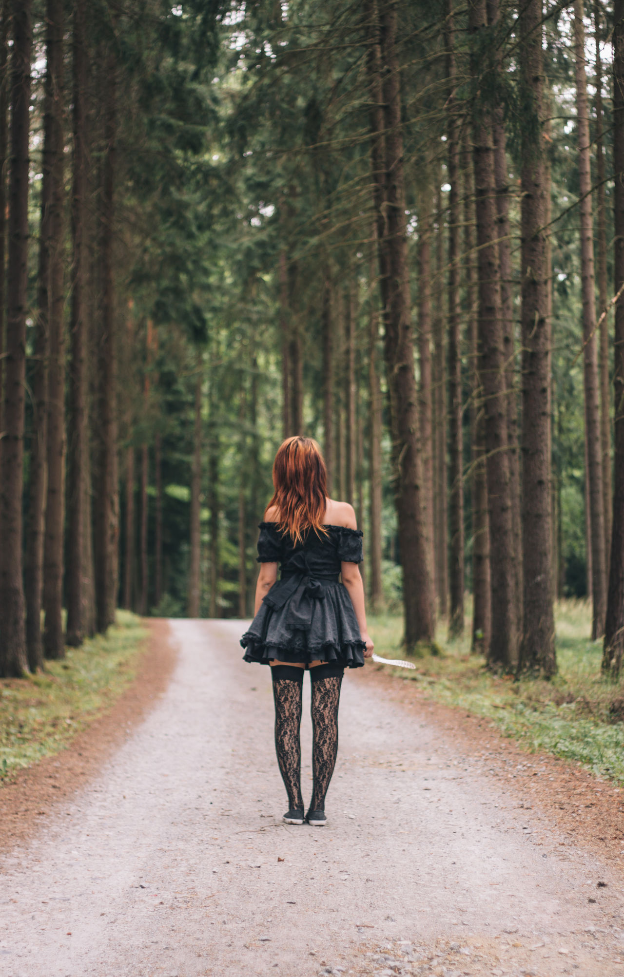Redhead in the woods Beautiful Beauty Beauty In Nature Black Black Dress Dress Fineart Forest Girls Hair Little Little Girl Nature Portait Pose Redhead Retro Vintage VSCO Vscocam Way Woman Woods Ladyphotographerofthemonth